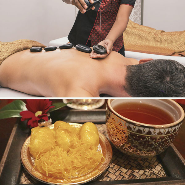 Masseur applying different Thai or Balinese massage techniques, accompanied by typical Thai desserts.